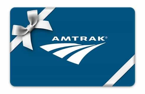 Amtrak logo with white bow and ribbon