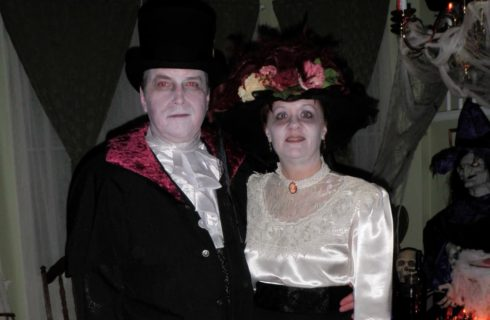 Trey and Annette dressed up in Halloween costumes
